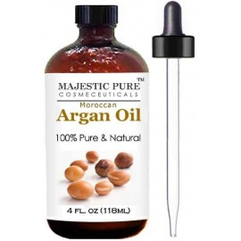 Moroccan Argan Oil for Hair and Face From Majestic Pure, 100% Natural, Organic, Cold Pressed & Triple Extra Virgin Grade 1 Argan Oil - 4 Oz (118 ml)