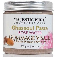 Majestic Pure Moroccan Ghassoul Paste, Hammam Spa's Premium Quality Paste with Rose Water and Argan Oil, 8.8 Oz (250 gm)