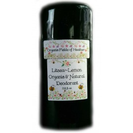 Organic Fields of Heather LITSEA LEMON Scent Organic & Natural Deodorant, 2.5 fl. Oz