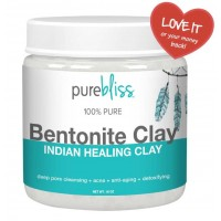 Pure Bliss Bentonite Clay - 16 Oz, 100% Pure Sodium Bentonite Indian Healing Clay Powder - Therapeutic Grade - for Acne, Deep Cleansing & Detoxifying of Skin and Pore Minimizer