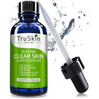 TruSkin Naturals Tea Tree Clear Skin Serum – Age-Defying formula for acne-prone skin with 20% Vitamin C, Retinol, Niacinamide, Salicylic Acid & Hyaluronic Acid for Blemish-Free, Soft, Radiant, Youthful Skin (1 oz)