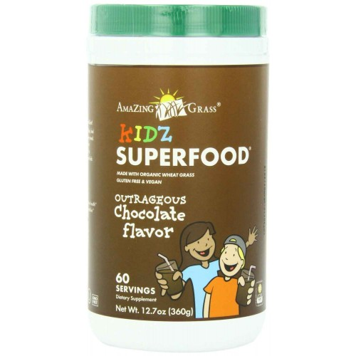 Amazing Grass Kidz SuperFood Powder, Outrageous Chocolate Flavor, 60 Servings, 360-Gram Container