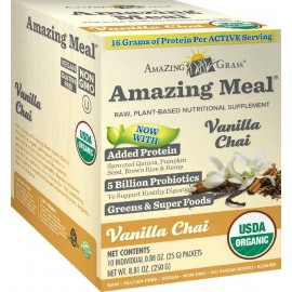 Amazing Grass Amazing Meal Vanilla Chai Infusion, 25 Gram pouches, 10 Count