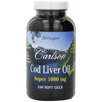 Carlson Labs Super 1000mg COD LIVER OIL, 250 Softgels