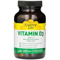 Country Life Vitamin D3 2500 IU 200 Softgels