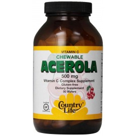 Country Life Chewable ACEROLA Vitamin C Complex, 500Mg, 90 Wafers