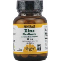 Country Life ZINC PICOLINATE 25 mg, 100 Tablets