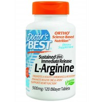 Doctor's Best Sustained Plus Immediate Release L-Arginine 500mg, 120 Bilayer Tablets