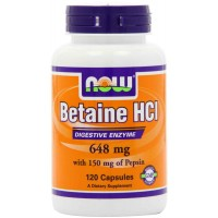 Now Foods BETAINE HCl 648 mg  Capsules (120) - Digestive Enzyme