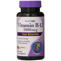 Natrol Vitamin B12 HFF Fast Dissolve Nutritional Supplements, Strawberry, 5000 mcg, 100 Tablets