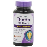 Natrol BIOTIN 5000 mcg Fast Dissolve Tablets, Strawberry, 90 Tablets