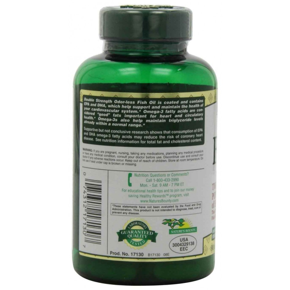 Buy nature 39 s bounty fish oil 2400 mg double strength for Nature bounty fish oil