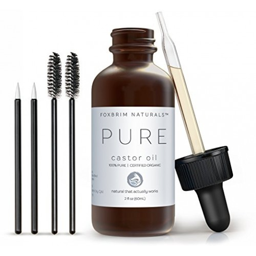 100% Pure Organic Castor Oil - Hexane Free - Premium Oil With Incredible Benefits For Hair, Skin & Nails - Lash & Brow Growth, Split End Repair, Fade Fine Lines, Heal Scars - Foxbrim 2oz