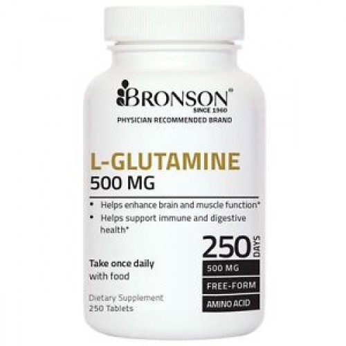 L-GLUTAMINE 500 mg 250 Tablets by Bronson Labs