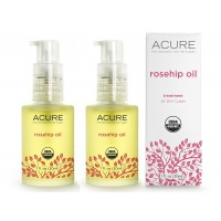Acure Organics Certified Organic Cold Pressed Rosehip Oil For Face & Body, Natural Anti-Aging & Environmental Damage Serum With Vitamin C & E, 1 fl. oz. each (Pack of 2)