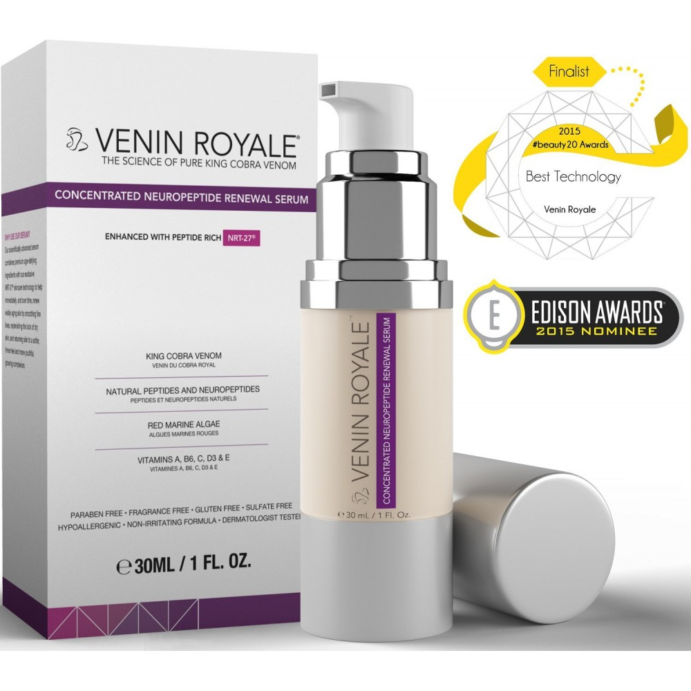 Synthetic Snake Venom Peptide Serum with Syn-Ake Hyaluronic Acid - 1oz Luckyfine Pro Blackhead Pimple Blemish Face Acne Comedone Extractor Remover Tool Set