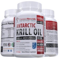 Antarctic Krill Oil 1000mg/Serving Softgel Capsules Best Source of Pure Omega 3s EPA DHA and Astaxanthin Suberba2 (TM) MSC Certified Red Oil Supplement for Mega Results