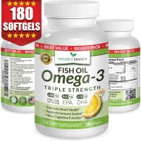 BEST TRIPLE STRENGTH Omega 3 Fish Oil Pills ★ 180 Capsules ★ 2500mg HIGH POTENCY Lemon Flavor 860mg EPA 650mg DHA Pure Burpless Liquid Softgels Best Brain Joints Eyes Heart Health Supplement