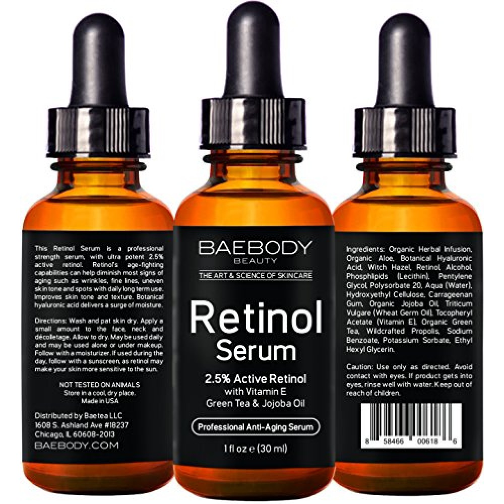buy baebody retinol serum 2 5 for face professional anti aging topical facial serum anti. Black Bedroom Furniture Sets. Home Design Ideas