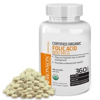 Bronson Organic Folic Acid, USDA Certified & Vegetarian, Ultimate Prenatal Vitamin, 360 Tablets