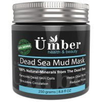 Dead Sea Mud Mask for Face and Body Treatment 100% Natural and Organic Skin Cleanser - Removes Dead Skin, Clear Acne, Reduce Pores & Wrinkles by Umber NYC (8.8 oz.)