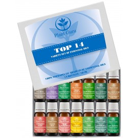 Essential Oil Set 14 - 10 ml Pure Therapeutic Grade Includes Frankincense, Lavender, Peppermint, Rosemary, Orange, Tea Tree, Eucalyptus, Grapefruit, Lemon, Lime, Clove, Spearmint, Lemongrass, Cinnamon
