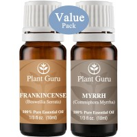 "Frankincense and Myrrh Essential Oil. 10 ml. 100% Pure, Undiluted, Therapeutic Grade. ""VALUE PACK"" 1 of Each"