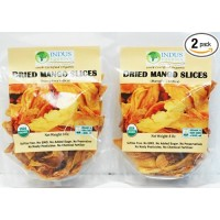 Indus Organics 100% Dried Mango Slices, Raw, 16 Oz (2 Pack of 8 oz), Sulfite Free, No Added Sugar, Premium Grade, Freshly Packed