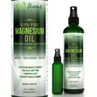 Kaiame Naturals Magnesium Oil Spray | LARGE 12 oz | Undiluted | Includes Travel Size Spray Bottle | 100% PURE and ORGANIC | Sourced from Ancient Zechstein Seabed | Highest Quality