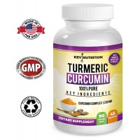 Key Nutrition Turmeric Curcumin - 1500 mg Complex With Ginger - 95 % Curcuminoids & Black Pepper Extract - Pain Relief, Healthy Joint, Anti Inflammatory & Cardiovascular Support - High Absorption