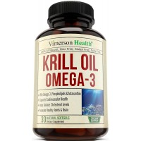 Krill Oil Omega 3 EPA & DHA - With Astaxanthin & Phospholipids. All Natural Supplement by Vimerson Health. Supports Cardiovascular Health, Helps Balance Cholesterol, Promotes Healthy Joints & Brain