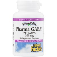 Natural Factors - Stress-Relax Pharma GABA 100mg, Supports Mental Focus & Relaxation, 60 Vegetarian Capsules