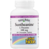 Natural Factors - Stress-Relax Suntheanine L-Theanine, 100mg, 60 Chewable Tablets