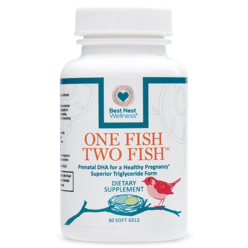 One Fish Two Fish Prenatal DHA, Triglyceride Omega 3 Fish Oil Supplement, Easy to Swallow, Lemon Flavored, Best Nest Wellness, 60 Count