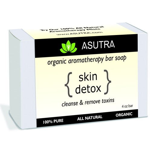 """Organic Aromatherapy Bar Soap - """"SKIN DETOX"""" - Cleanse & Remove Toxins - 100% Pure, Vegan, Natural, Powerful Essential Oil Blends + FREE Storage & Travel Soap Case (1pk /4 oz)"""