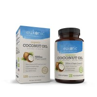 Organic Coconut Oil Capsules Extra Virgin 1000 mg by Eukonic :: 120 Softgels :: Weight Loss :: Supports Healthy Diet :: Healthy Cholesterol Levels :: Non-GMO :: Made in USA :: 3rd Party Tested