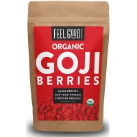 Organic Goji Berries - 8oz Resealable Bag - 100% Raw From Ningxia - by Feel Good Organics