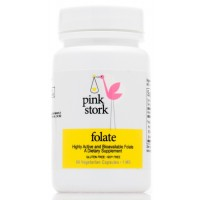 Pink Stork Folate: 1000mcg, Superior to Synthetic Folic Acid -125% of Recommended Daily Value -Absorbable by All Body Types -Supports Prenatal Development and Energy -Small Pill