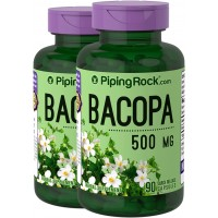 Piping Rock Bacopa Monnieri 500 mg 2 Bottles x 90 Quick Release Capsules Herbal Supplement