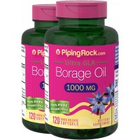 Piping Rock Borage Oil Ultra GLA 1000 mg 2 Bottles x 120 Quick Release Softgels 100% Pure Solvent Free Dietary Supplement