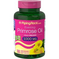 Piping Rock Evening Primrose Oil Cold Pressed 1000 mg 100 Quick Release Softgels Hexane Free Dietary Supplement