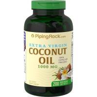 Piping Rock Extra Virgin Coconut Oil 1000 mg 200 Quick Release Softgels 100% Expeller Pressed Dietary Supplement