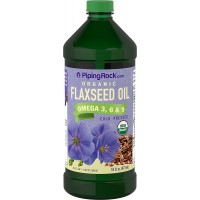 Piping Rock Flaxseed Oil Omega 3 6 9 Cold pressed 16 fl oz (473 mL)