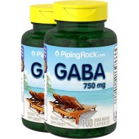 Piping Rock GABA Gamma-Aminobutyric Acid 750 mg 2 Bottles x 100 Capsules Dietary Supplement