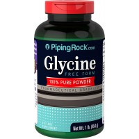 Piping Rock Glycine Free Form 100% Pure Powder 1 lb. (454 g) Bottle Pharmaceutical Grade Dietary Supplement