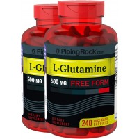 Piping Rock L-Glutamine 500 mg Free Form 2 Bottles x 240 Quick Release Capsules Dietary Supplement