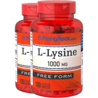 Piping Rock L-Lysine Free Form 1000 mg 2 Bottles x 100 Coated Caplets Dietary Supplement