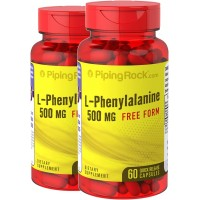 Piping Rock L-Phenylalanine Free Form 500 mg 2 Bottles x 60 Quick Release Capsules Dietary Supplement