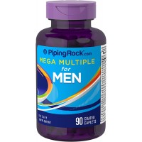 Piping Rock Mega Multiple for Men 90 Coated Caplets Dietary Supplement