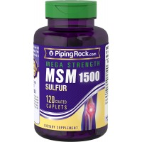 Piping Rock Mega Strength MSM 1500 + Sulfur 1500 mg 120 Coated Caplets Dietary Supplement